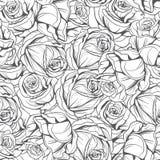 O teste padrão monocromático floresce rosas ilustração do vetor