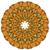 O teste padrão orgânico redondo decorativo, circunda a mandala colorida com muitos detalhes no fundo branco ilustração royalty free