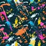 O teste padrão sem emenda abstrato colorido nos grafittis denomina a ilustração do vetor da qualidade para seu projeto ilustração royalty free
