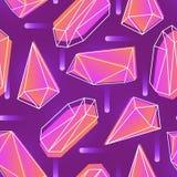 O teste padrão sem emenda abstrato com néon coloriu cristais, minerais ou lapidou pedras e seus esboços no fundo roxo ilustração stock