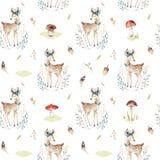 O teste padrão sem emenda animal para o jardim de infância, berçário dos cervos bonitos do bebê isolou a ilustração para a roupa  Imagem de Stock