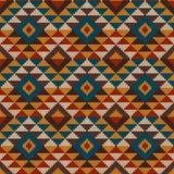 O teste padrão sem emenda asteca tribal tradicional nas lãs fez malha o te imagem de stock