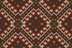 O teste padrão sem emenda asteca tribal tradicional nas lãs fez malha a textura imagens de stock royalty free