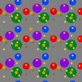 O teste padrão sem emenda colorido de bolas e do ouro multi-coloridos stars na obscuridade - fundo cinzento Vector a ilustração,  ilustração do vetor