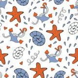 O teste padrão sem emenda colorido do mar com gaivotas ancora shell e estrelas do mar Fotografia de Stock