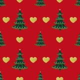O teste padrão sem emenda com árvore de Natal e o coração do ouro por feriados de inverno projetam ilustração do vetor
