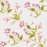 O teste padrão sem emenda com as flores de selvagem aumentou Ilustração da aguarela Fotografia de Stock