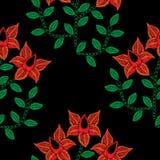 O teste padrão sem emenda com bordado costura a flor vermelha de imitação Imagem de Stock