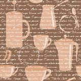 O teste padrão sem emenda com café datilografa o texto Imagens de Stock