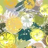 O teste padrão sem emenda com citrinas na aquarela abstrata mancha, cursos a mão livre das escovas de pintura Imagem de Stock