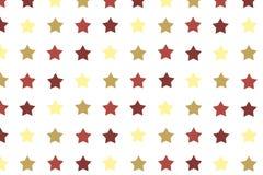 O teste padrão sem emenda com cor amarela e marrom stars na parte traseira do branco Fotografia de Stock Royalty Free