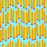 O teste padrão sem emenda com corrige no fundo branco De volta à textura da escola com lápis cômicos Ilustração do vetor ilustração stock