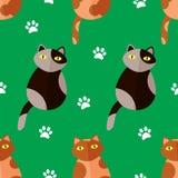O teste padrão sem emenda com gatos e pata dos desenhos animados imprime no fundo verde Vetor Imagens de Stock