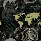 O teste padrão sem emenda com globo, compasso, mapa do mundo e vento do vintage aumentou Fotos de Stock