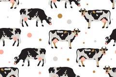 O teste padrão sem emenda com leite manchou vacas em preto, em branco, em cinzento, o ouro e o rosa Agricultura, cultivando, vida ilustração do vetor
