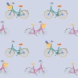 O teste padrão sem emenda com mão colorida a cidade tirada bikes Ilustração do Vetor