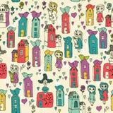 O teste padrão sem emenda com meninas, crianças, casas, pássaros, corações nos desenhos animados rabisca o estilo Projeto do esbo Imagens de Stock Royalty Free