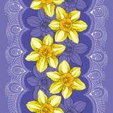 O teste padrão sem emenda com narciso floresce ou narciso amarelo e o laço branco no fundo violeta Fundo floral no estilo do cont Imagens de Stock