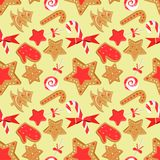 O teste padr?o sem emenda com Natal sua: pirulito, bast?o de doces, cookie do gengibre ilustração stock