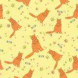 O teste padrão sem emenda com o gato para o papel de parede, o álbum de recortes e outro projetam Imagens de Stock Royalty Free