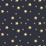 O teste padrão sem emenda com ouro stars no fundo cinzento escuro Ilustração do vetor ilustração stock