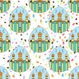 O teste padrão sem emenda com Páscoa coloriu ovos O templo, a igreja Easter feliz Fundo festivo Projeto para a bandeira ilustração royalty free