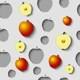 O teste padrão sem emenda com papel cortou maçãs e algum ouro Imagens de Stock