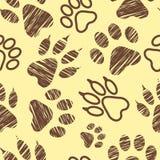O teste padrão sem emenda com pegadas animais, pata do animal de estimação carimba no fundo branco, em etapas animais chocadas, e Imagens de Stock