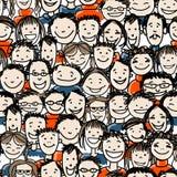 O teste padrão sem emenda com povos aglomera-se para seu projeto Imagens de Stock Royalty Free