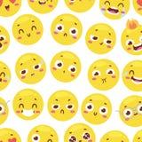 O teste padrão sem emenda com smiley felizes alegres para o interior de matérias têxteis ou o projeto do livro e o Web site engra Fotografia de Stock Royalty Free