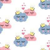 O teste padrão sem emenda com sono de sorriso nubla-se no amor no fundo branco Ilustração Royalty Free