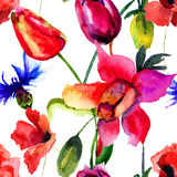 O teste padrão sem emenda com tulipas e a papoila bonitas floresce Imagens de Stock Royalty Free