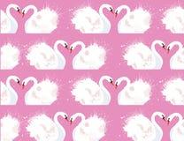 O teste padrão sem emenda com um par de cisnes e de aquarela dos amantes espirra ilustração royalty free