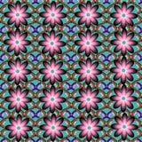 O teste padrão sem emenda consiste em flores e em borboletas Imagens de Stock Royalty Free