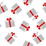 O teste padrão sem emenda da caixa de presente lisa com fundo vermelho da curva da fita com um teste padrão de caixas abertas e f ilustração do vetor