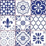 O teste padrão sem emenda da telha portuguesa do vetor, Azluejo telha o mosaico nos azuis marinhos, no sumário e nos designs flor Imagens de Stock Royalty Free