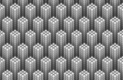 O teste padrão sem emenda de 3d branco cuba a formação de formas da torre Fotos de Stock