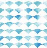 O teste padrão sem emenda do azul e do aqua baseado no papel branco e na mão da aquarela tirados com escova e líquido cobre círcu Fotografia de Stock