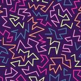 O teste padrão sem emenda do estilo na moda de memphis inspirou por 80s, projeto retro da forma 90s Fundo festivo colorido do mod Foto de Stock Royalty Free