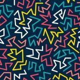 O teste padrão sem emenda do estilo na moda de memphis inspirou por 80s, projeto retro da forma 90s Fundo festivo colorido do mod Imagens de Stock Royalty Free