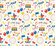 O teste padrão sem emenda do feliz aniversario ou do carnaval com máscara empluma-se, balões, confetes Fundo infinito do partido  Imagem de Stock