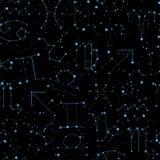 O teste padrão sem emenda do horóscopo, todo o zodíaco assina dentro o estilo da constelação com linha e estrelas no céu preto Fu ilustração do vetor