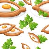 O teste padrão sem emenda do khachapuri adjarian com pão liso recentemente cozido da erva encheu-se com o illustr liso liso do qu ilustração do vetor
