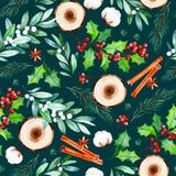 O teste padrão sem emenda do Natal com flores, fatias de madeira, folhas, ramos, algodão floresce Fotografia de Stock Royalty Free