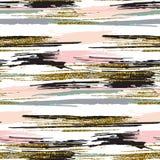 O teste padrão sem emenda do vetor com brilho do ouro textured cursos e listras da escova Fotografia de Stock Royalty Free