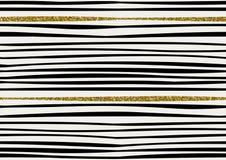 O teste padrão sem emenda do vetor com brilho tirado mão do ouro textured cursos da escova e listra pintado à mão Imagens de Stock