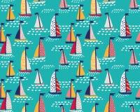 O teste padrão sem emenda do vetor com navigação tirada mão yachts ilustração stock