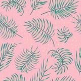 O teste padrão sem emenda do vetor da palmeira realística verde sae no fundo cor-de-rosa ilustração do vetor