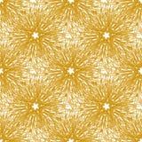 O teste padrão sem emenda do vetor do ouro com fogo de artifício brilhante floresce Textura sem emenda para a Web, cópia, papel d Foto de Stock