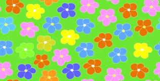 O teste padrão sem emenda do vetor floral com margarida colorido floresce em um fundo verde do campo Imagens de Stock